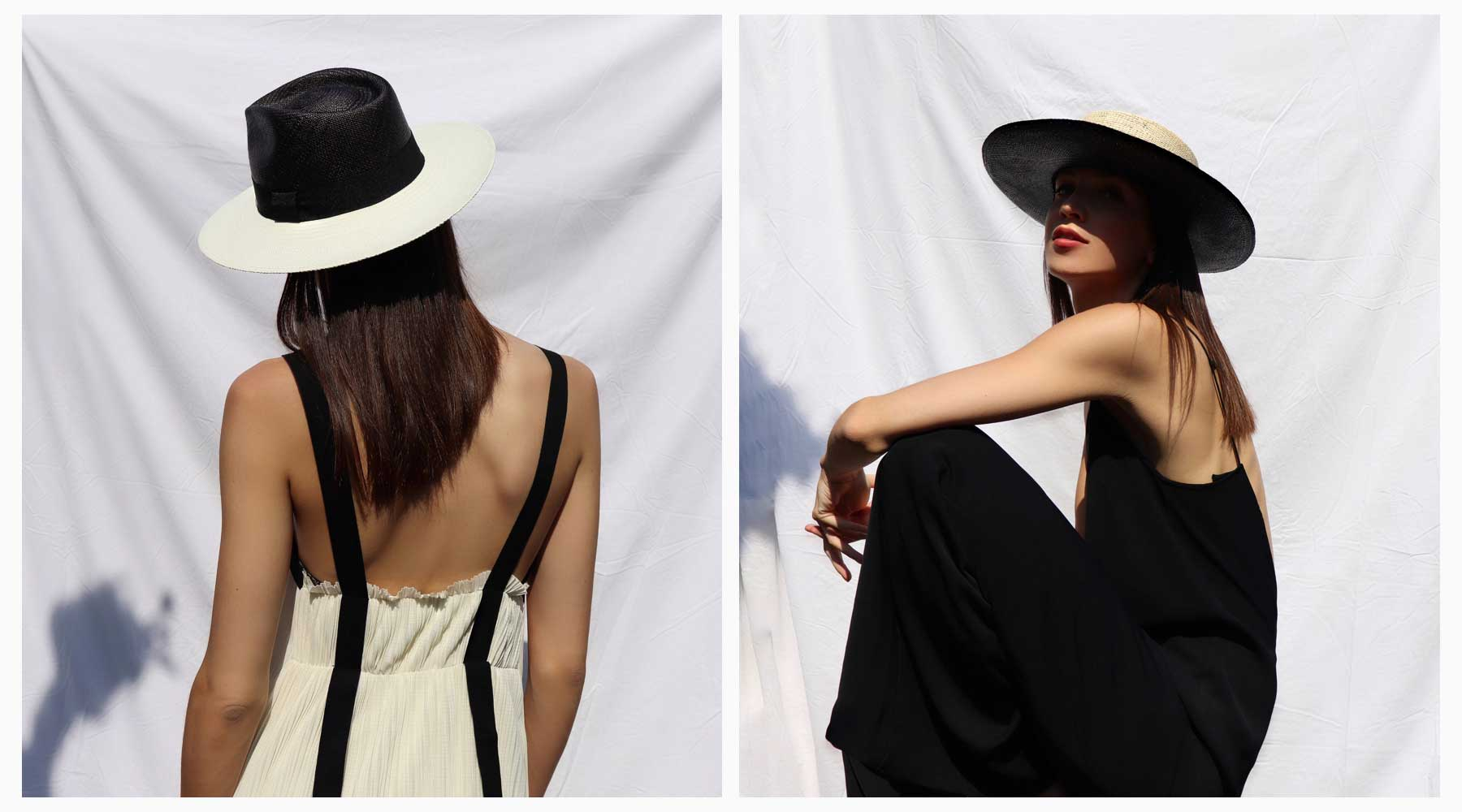 Minimal social media campaign. Black and white, fedora and boater hat for their Spring/Summer'19 campaign.