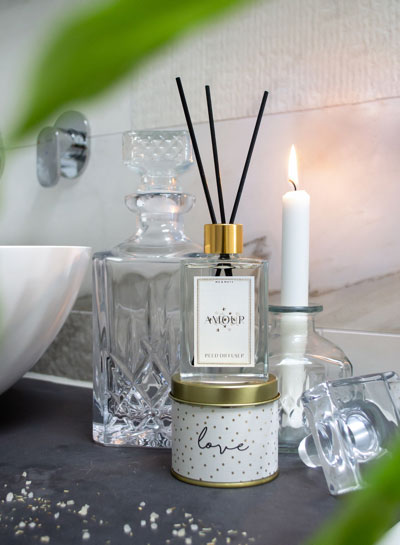 Me & Mats candles and fragrance sticks. Beauty content shoot for social media.