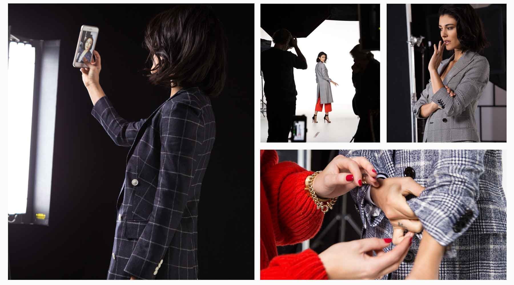 Social media Instagram Stories behind the scenes of a fashion shoot.