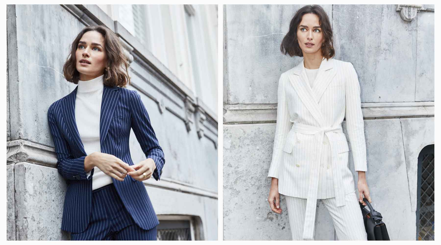 Styling for a fashion shoot with women's suits in Amsterdam.