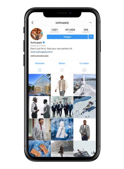 Suitsupply Instagram social media feed for a menswear brand.