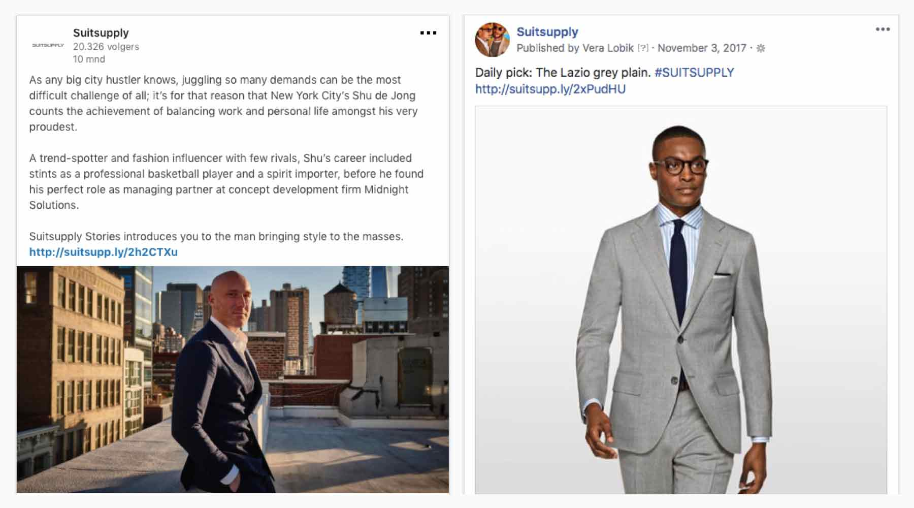 Suitsupply Facebook and Instagram specialist.